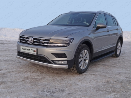 """Volkswagen Tiguan 2017- Защита передняя нижняя (овальная длинная) 75х42 мм (Пакет """"Offroad"""")"""